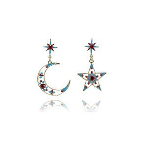 Star Moon-D Asymmetrical Earrings